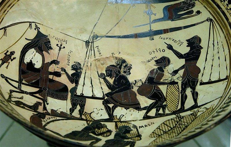 La Coppa di Arkesilas conservata al Cabinet des médailles: Arcesilao II di Cirene assiste alla pesatura del silfio