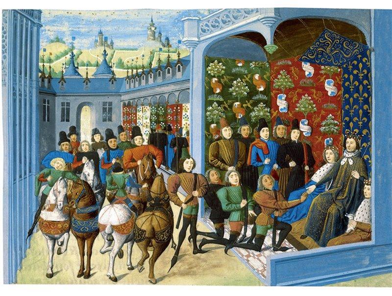 Carlo V di Francia riceve alcuni invitati inglesi. Miniatura tratta dalle 'Chroniques' di Jean Froissart. 1470-1472. British Library, Londra