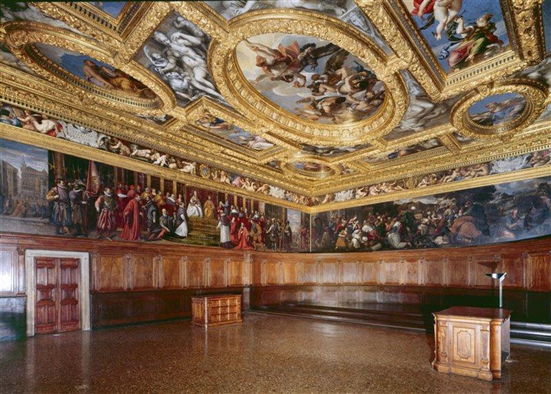 La sala del Consiglio dei Dieci, nel palazzo Ducale di Venezia. Il consiglio poteva contare su validi servizi segreti