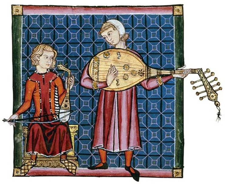 Musici in una miniatura di 'Las cantigas de Santa Maria'. XIII secolo. Escorial, Madrid