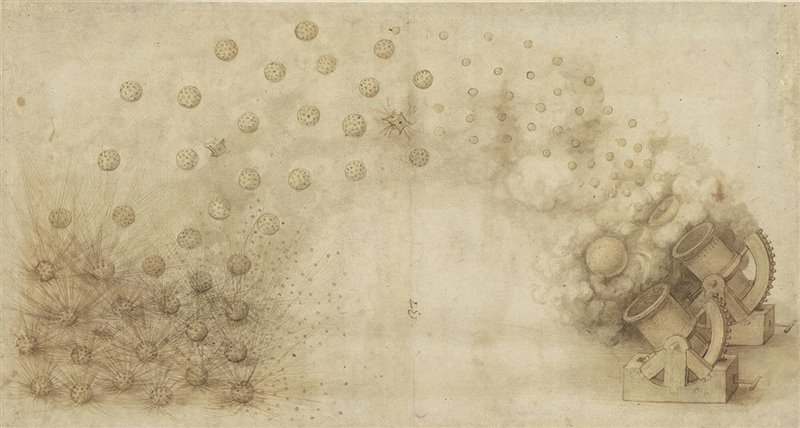 Due cannoni in grado di lanciare bombe esplosive. Schizzo del Codice atlantico di Leonardo da Vinci. Biblioteca Ambrosiana, Milano