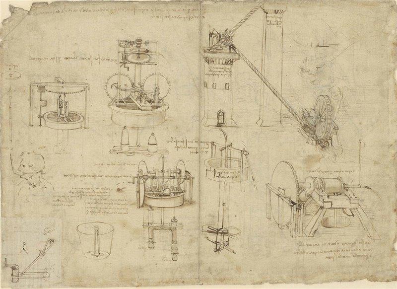 Pompe ad acqua. Codice atlantico. Leonardo da Vinci. 1480 circa. Biblioteca Ambrosiana, Milano