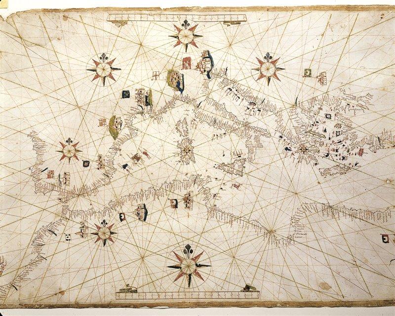 Carta nautica del Mediterraneo disegnata da Vincentius Prunes. XVII secolo