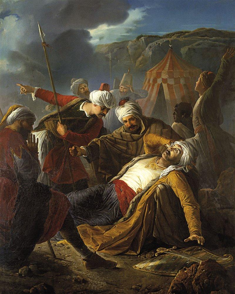 'La morte di Dragut', capitano dell'assemblea dei corsari di Algeri. Giuseppe Calì. 1867. Museo delle belle arti, La Valletta