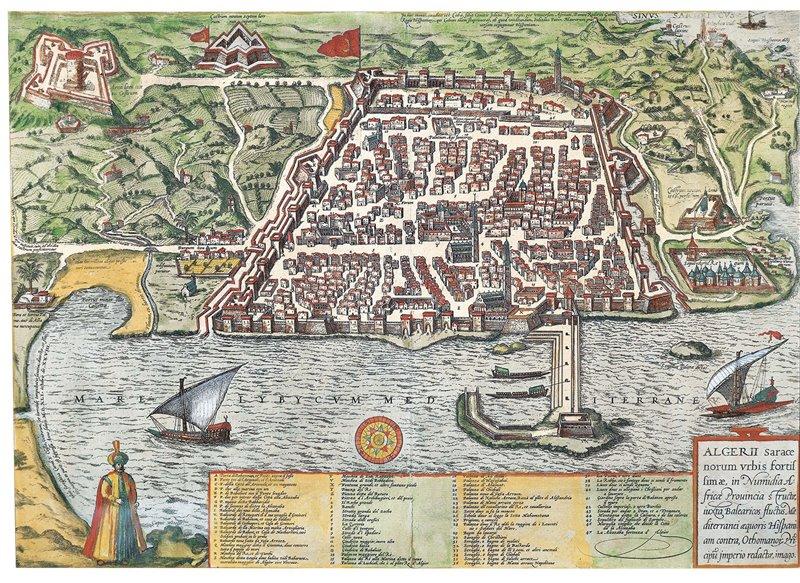 Vista della città di Algeri sotto il protettorato di Solimano il Magnifico. XVI secolo. Museo nazionale delle arti d'Africa e d'Oceania, Parigi