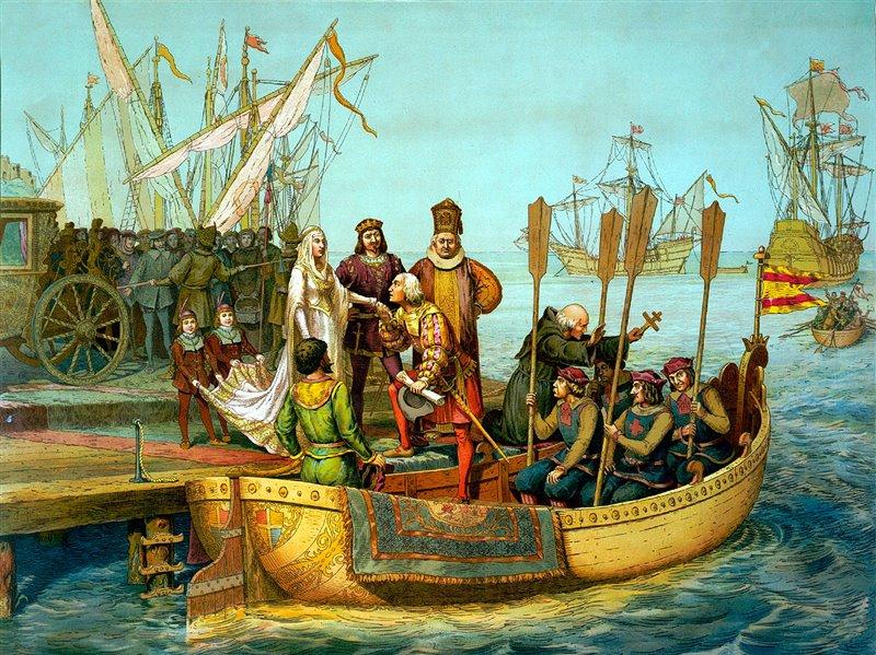 Cristoforo Colombo saluta i re cattolici prima di partire per le Indie
