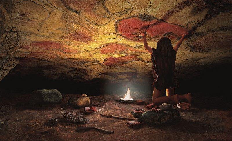 Ipotetica ricostruzione di un artista paleolitico che lavora nella sala dei policromi di Altamira (Spagna). Per l'illuminazione usa una lampada a midollo animale che non produce fumo.
