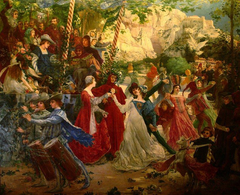 'La farandole de Pétrarque' (La farandola di Petrarca). Marie Alexandre Valentin Sellier. Olio su tela, 1900 circa